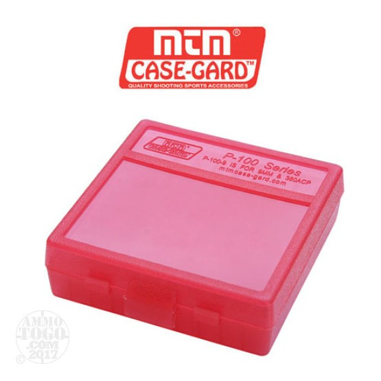 1 - MTM Case-Gard P-100 100rd. Pistol Ammo Box for .44 - .45 Long Red Color