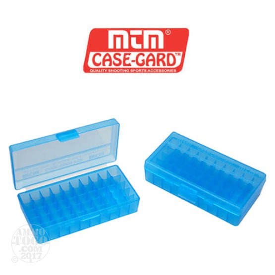 1 - MTM Case-Gard P50 Series 50rd. Pistol Ammo Box for .38 - .357 Blue Color
