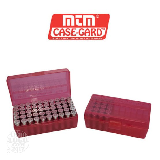 1 - MTM Case-Gard P50 Series 50rd. Pistol Ammo Box for .45 - .41 Red Color