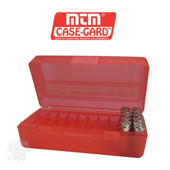 1 - MTM Case-Gard P50 Series 50rd. Pistol Ammo Box for 9mm - .380 Red Color