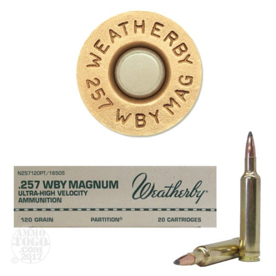 20rds - 257 Weatherby Mag. 120gr. Nosler Partition Ammo