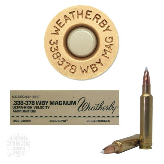 20rds - 338-378 Weatherby Magnum 200gr. Accubond Ammo