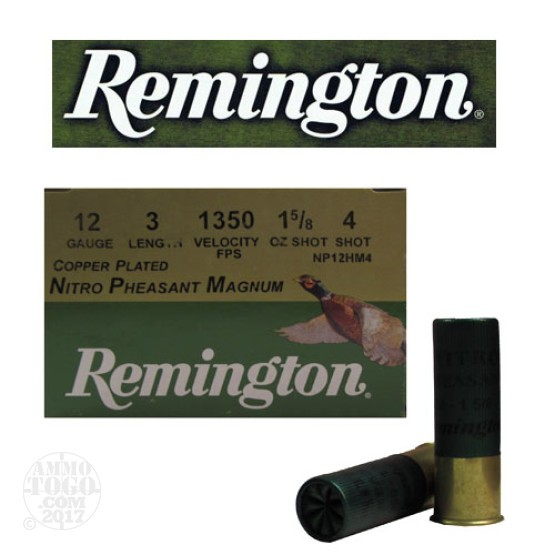 "25rds - 12 Gauge Remington Nitro Pheasant Magnum 3"" 1 5/8oz. #4 Shot"