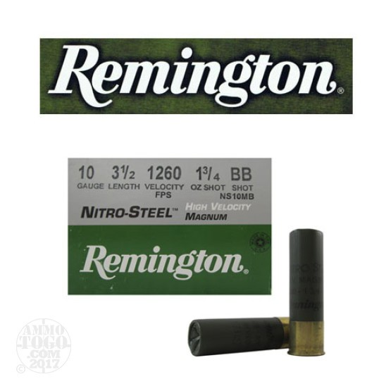 "25rds - 10 Gauge Remington Nitro-Steel HV 3 1/2"" 1 3/4oz. #BB Shot Ammo"