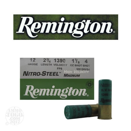"25rds - 12 Gauge Remington Nitro-Steel 2 3/4"" 1 1/8oz. #4 Shot Ammo"