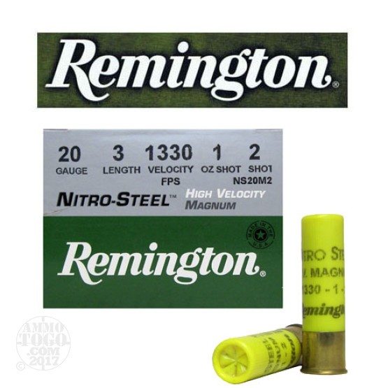 "25rds - 20 Gauge Remington Nitro-Steel 3"" 1oz #2 Hi-Velocity Ammo"