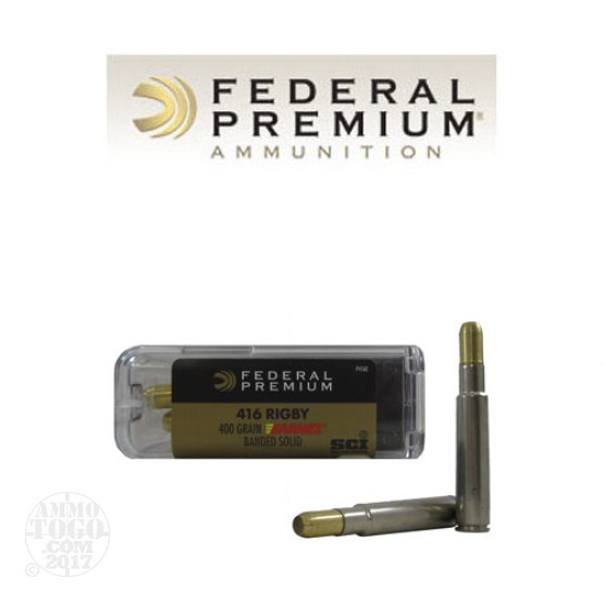 20rds - 416 Rigby Federal Cape-Shok 400gr. Barnes Banded Solid Ammo