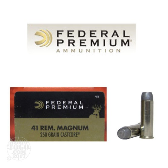 20rds - 41 Mag Federal 250gr. CastCore Lead Flat Point  Ammo