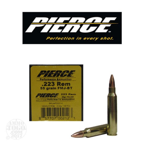 50rds - .223 Pierce 55gr. FMJ-BT Ammo