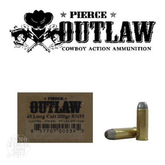 50rds - 45 Long Colt Pierce Outlaw Cowboy Action Load 200gr. RNFP Ammo