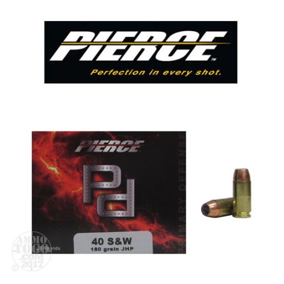 20rds - 40 S&W Pierce 180gr. Jacketed Hollow Point Ammo