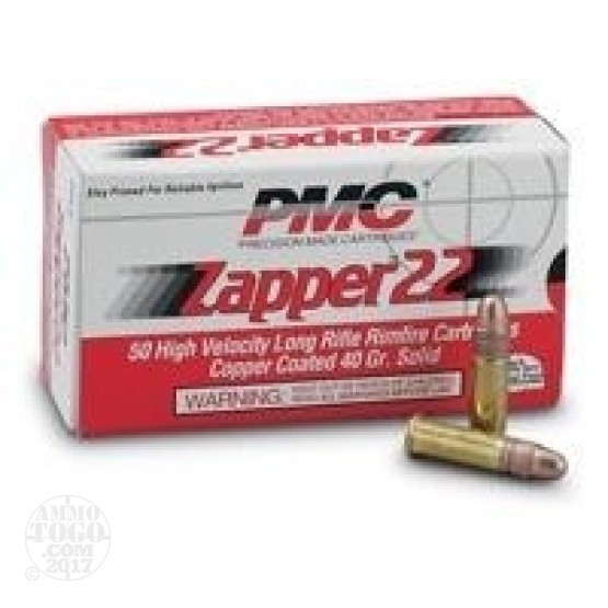 500rds - 22LR PMC Zapper 40gr. Solid Point Ammo