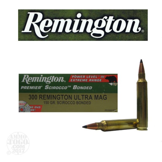 20rds - 300 RUM Remington Premier 150gr. Scirocco Bonded Polymer Tip Power Level 3 Ammo