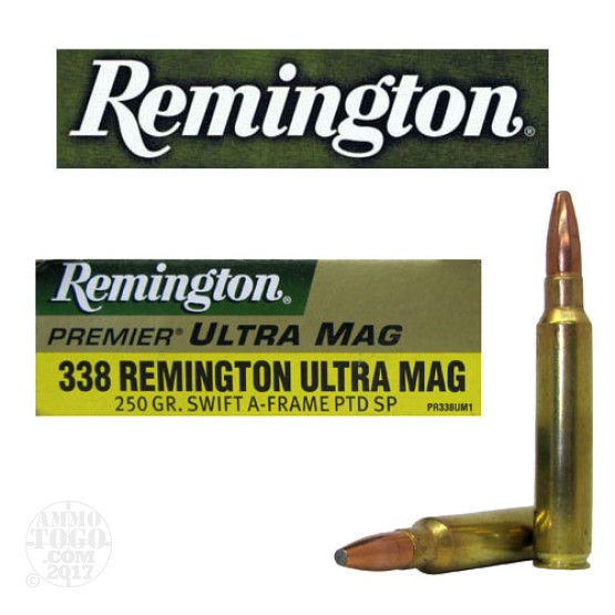 20rds - 338 RUM Remington Premier Ultra Mag 250gr. Swift-a-Frame Soft Point Ammo