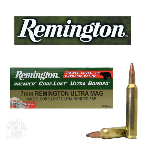 20rds- 7mm Remington Ultra Mag Premier 140gr. Core-Lokt Bonded SP Power Level 3 Ammo