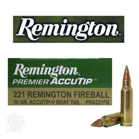 20rds - 221 Fireball Remington Premier 50gr. Accu-Tip-V Boat Tail Ammo