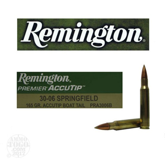 20rds - 30-06 Remington Premier 165gr. Accutip Boat Tail Polymer Tip Ammo
