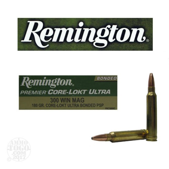 20rds - 300 Win Mag Remingon Premier 180gr. Core-Lokt Ultra Bonded PSP Ammo