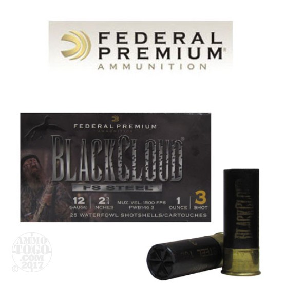 "25rds – 12 Gauge Federal Black Cloud 2 3/4"" 1 oz. #3 Steel Shot Ammo"