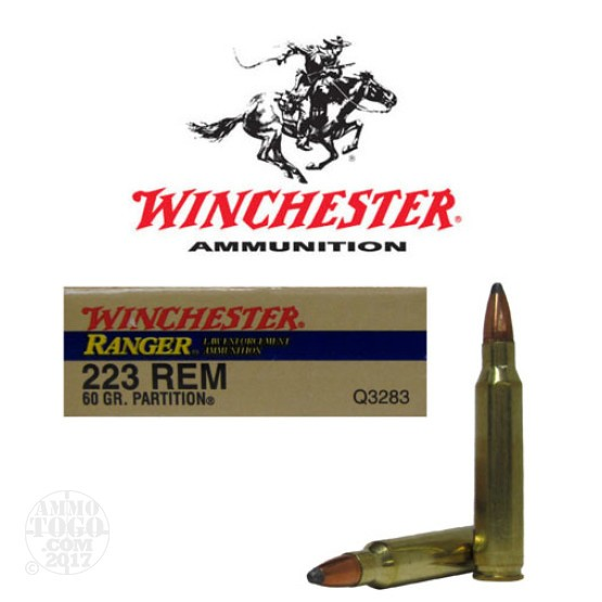 20rds - 223 Winchester Ranger 60gr. Partition Soft Point Ammo
