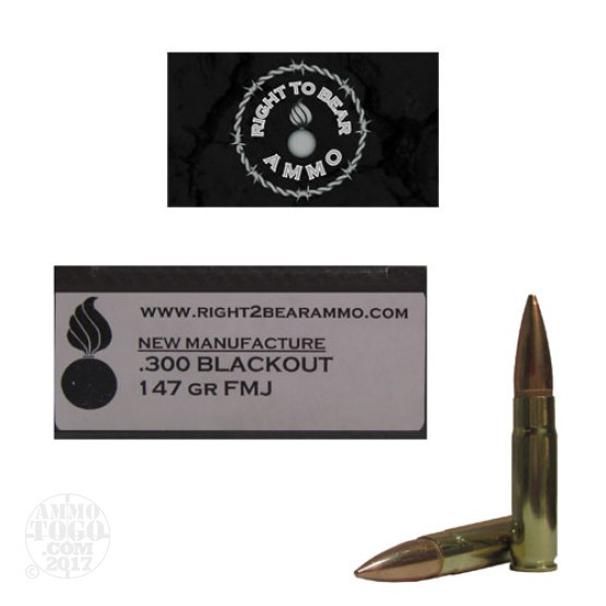 200rds - .300 AAC BLACKOUT Right To Bear 147gr. FMJ Ammo