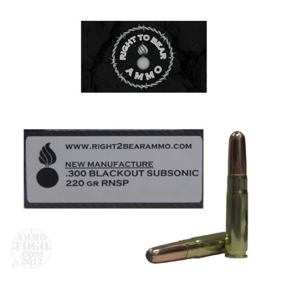 200rds - 300 AAC BLACKOUT Right To Bear Subsonic 220gr RNSP Ammo