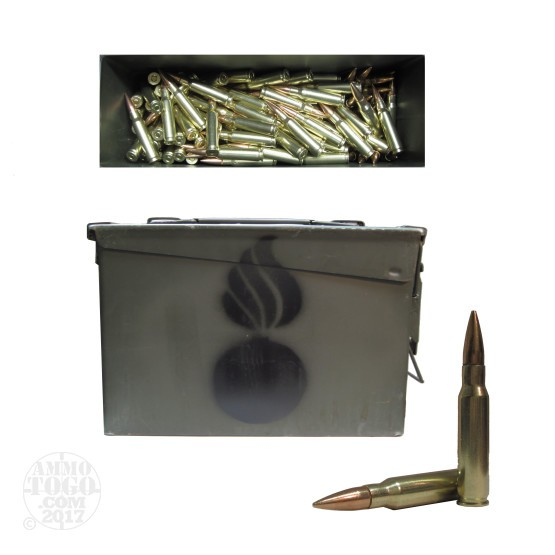 250rds - 308 Win. Right To Bear 150gr FMJ Ammo in Ammo Can