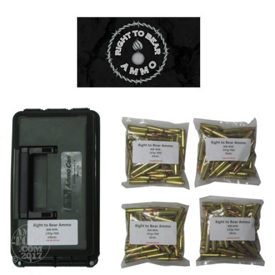 200rds - 308 Win. Right To Bear 147gr. FMJ Ammo in Polymer Ammo Can