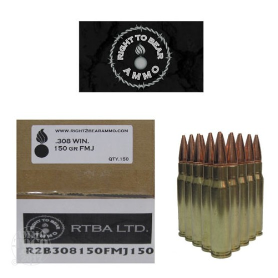 150rds - 308 Win. Right To Bear 150gr FMJ Ammo