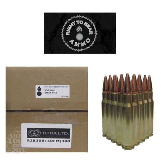 400rds - 308 Win. Right To Bear 150gr FMJ Ammo
