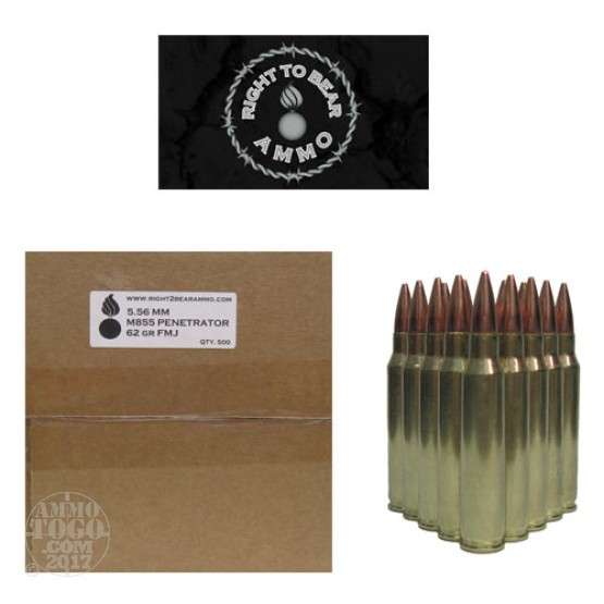 500rds - 5.56 Right To Bear M855 62gr Penetrator FMJ Ammo