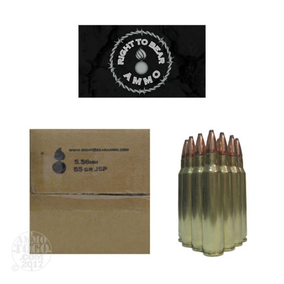 200rds - 5.56 Right To Bear 55gr. JSP Ammo