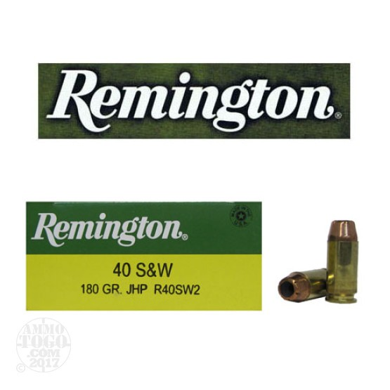 25rds - 40 S&W Remington 180gr. Jacketed Hollow Point Ammo
