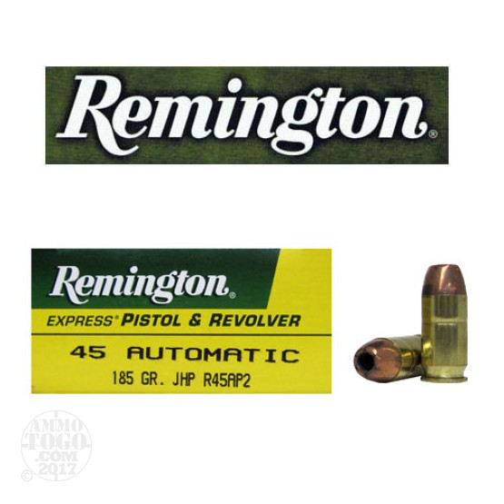 50rds - 45 ACP Remington Express 185gr. Jacketed Hollow Point Ammo