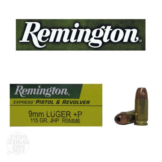 50rds - 9mm Remington Express 115gr. +P Hollow Point Ammo
