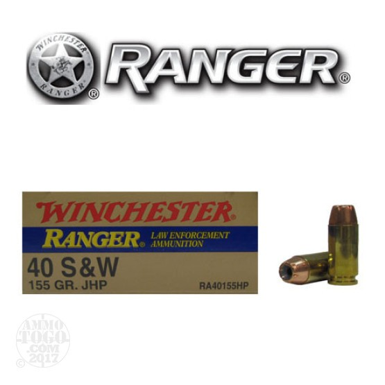 50rds - 40 S&W Winchester Ranger 155gr. HP Ammo