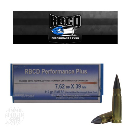 20rds - 7.62x39mm RBCD Performance Plus 112gr BMTSP Ammo