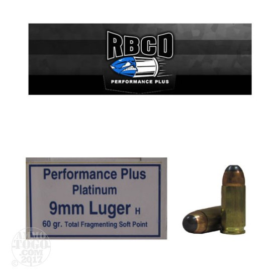 20rds - 9mm RBCD Performance Plus 60gr Total Fragmenting Soft Point Ammo