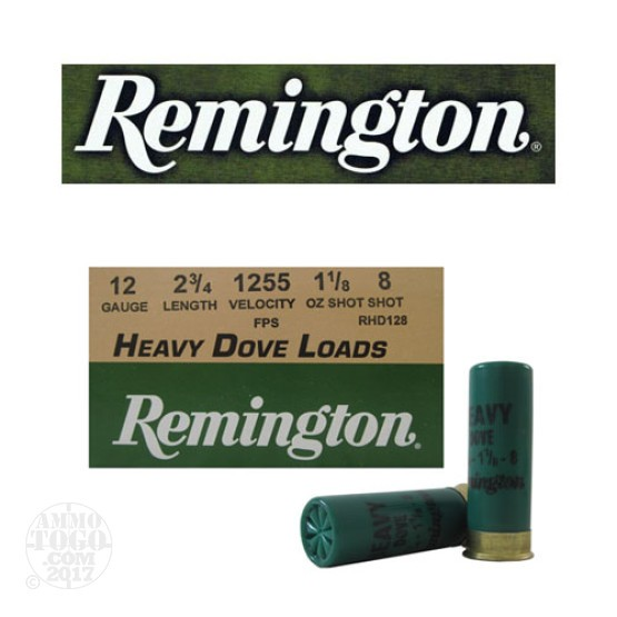 "25rds - 12 Gauge Remington Heavy Dove Loads 2 3/4"" 1 1/8oz. #8 Shot Ammo"