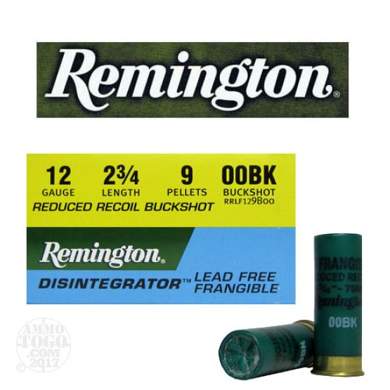 "25rds - 12 Ga. Remington Disintegrator 2 3/4"" Reduced Recoil LF Frangible 00 Buckshot Ammo"