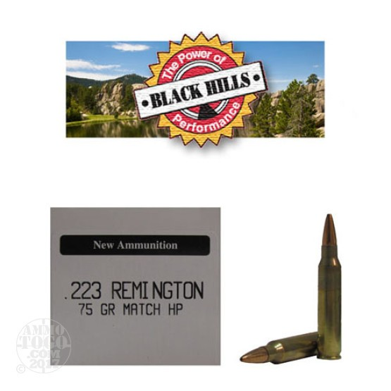 50rds - 223 Black Hills 75gr. New Seconds Heavy Match HP Ammo