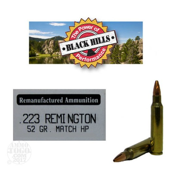 50rds - 223 Black Hills 52gr. Remanufactured Seconds Match Hollow Point Ammo