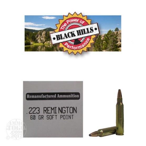 50rds - .223 Black Hills 60gr. Remanufactured Seconds Soft Point Ammo