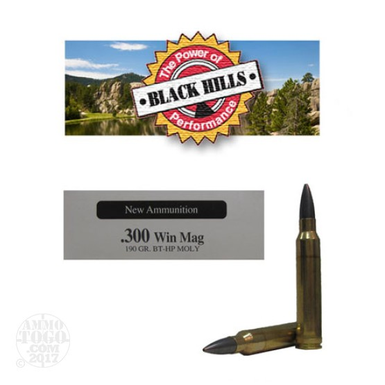 20rds - 300 Win Mag Black Hills 190gr. New Seconds Match BTHP Moly Ammo