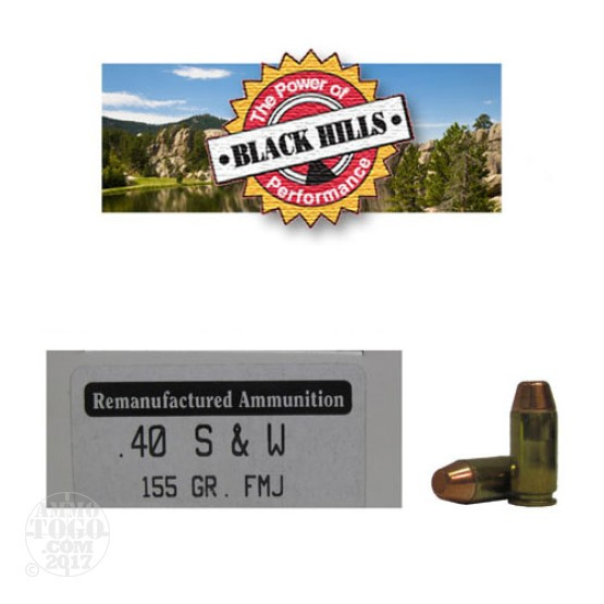 50rds - 40 S&W Black Hills 155gr. Reman Seconds FMJ Ammo