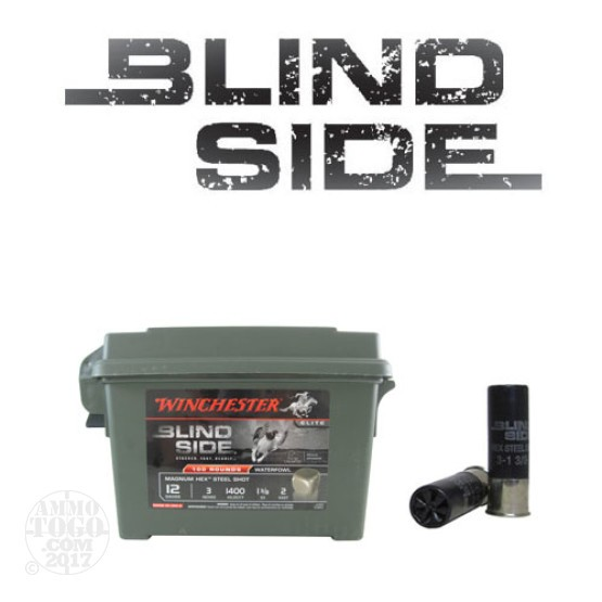 "100rds - 12 Gauge Winchester Blind Side 3"" 1 3/8oz. #2 Shot Ammo In Plastic Ammo Box"