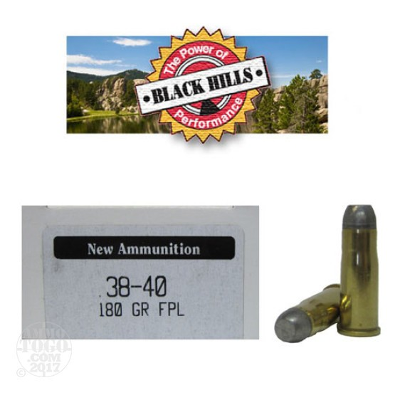 50rds - 38-40 Black Hills Seconds 180gr. Flat Point Lead Ammo