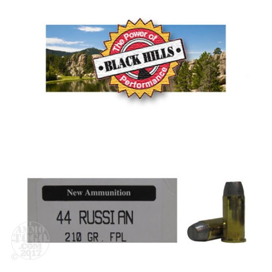 50rds - 44 Russian Black Hills 210gr. New Seconds FPL Ammo