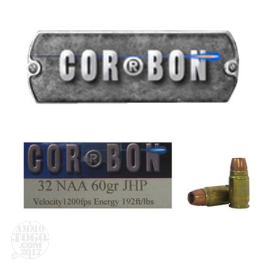 20rds - 32 NAA Corbon 60gr. Jacketed Hollow Point Ammo