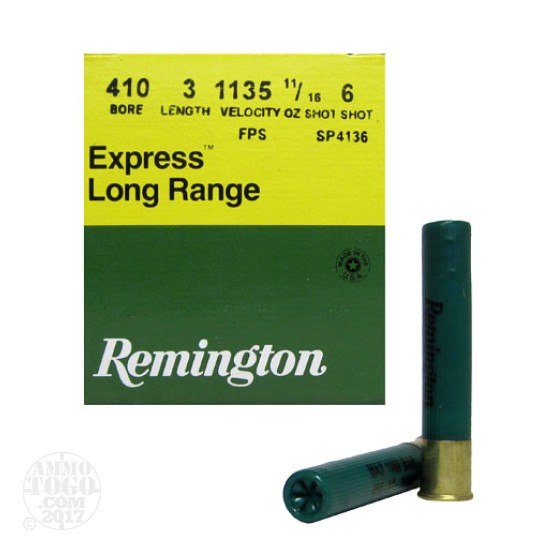 "25rds - 410 Gauge Remington Express 3"" 11/16oz. #6 Shot Ammo"